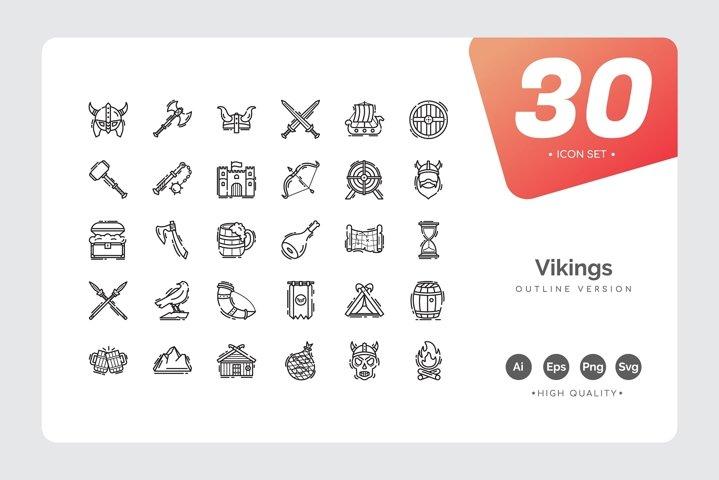 Vikings Icon Set Outline