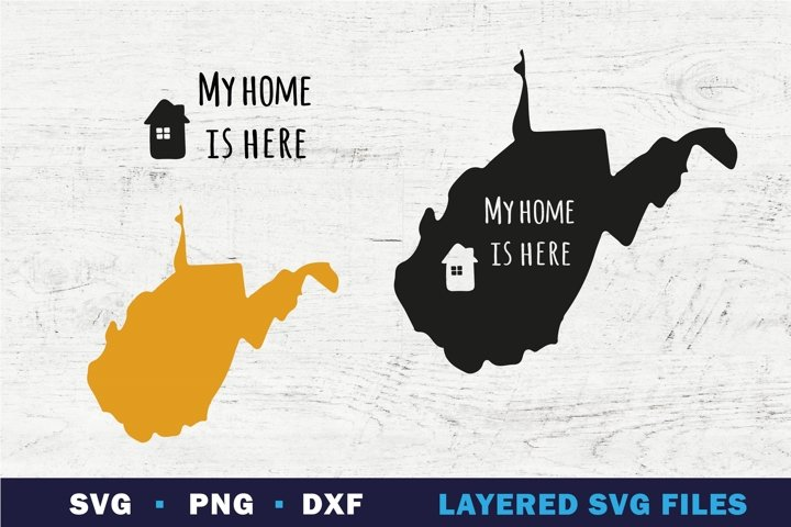 West Virginia state map SVG, My Home is here sign on state