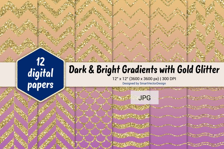 Chevron, Scales, & Waves - Gradients with Gold Glitter #60