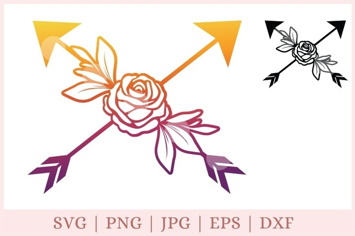 Arrow SVG, arrows with flower svg, rose svg
