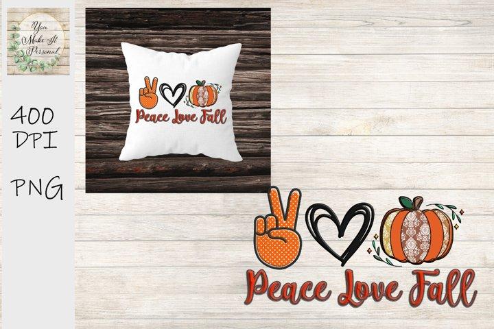 Peace Love Fall, Hand Drawn Pumpkin Design