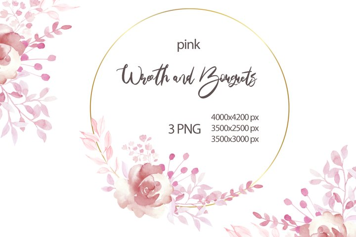 Watercolor Pink Roses Wreath Clipart.