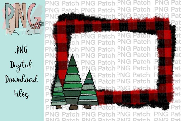 Buffalo Plaid Monogram Frame with Whimsical Christmas Trees