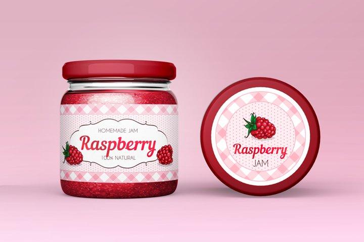 Vintage Raspberry Jam label/sticker design.