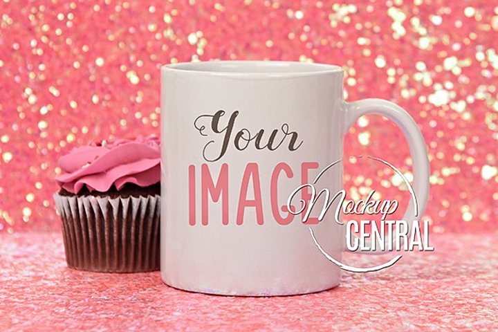 Pretty Birthday Coffee Glass Cup Mockup on Sparkle Table Top