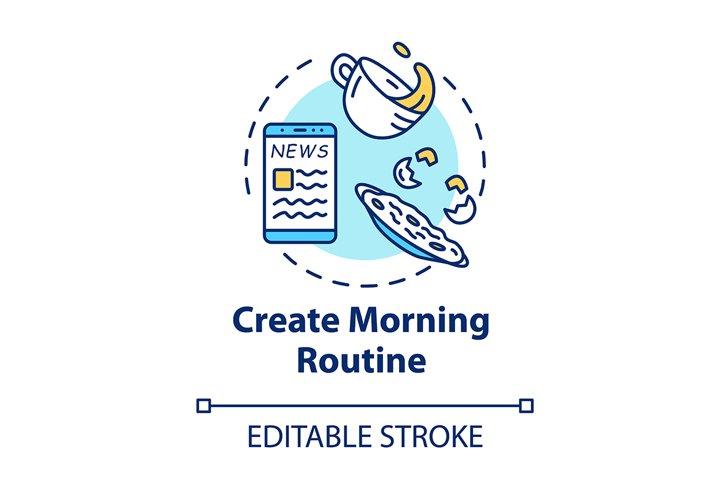 Create morning routine concept icon