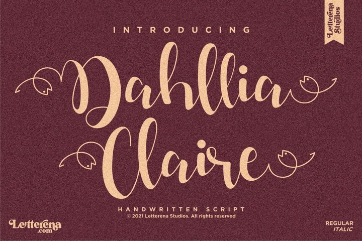 Dahllia Claire - Beautiful Script Font