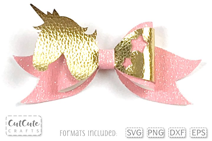 Candy Unicorn Hair Bow SVG cut files, Bow template