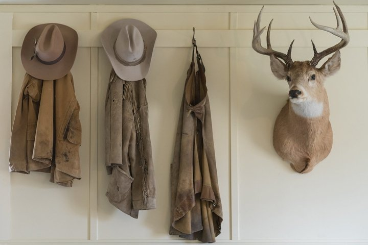 Cowboy Closet Photo - Cowboy hats and Chaps with Deer Head