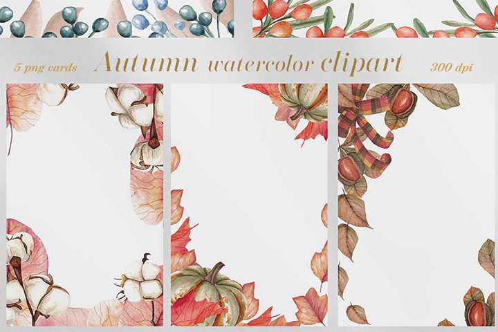 Autumn watercolor clipart.Watercolor greeting cards.