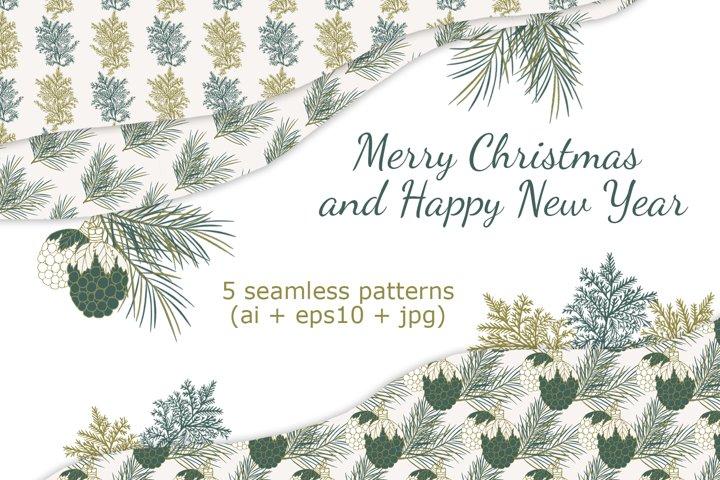 Christmas seamless patterns. Digital vector backgrounds.