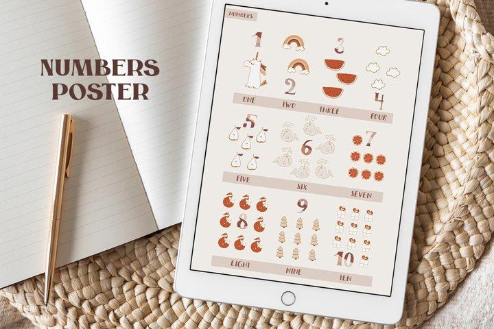 Baby Numbers Poster, Educational Print - Nursery Print