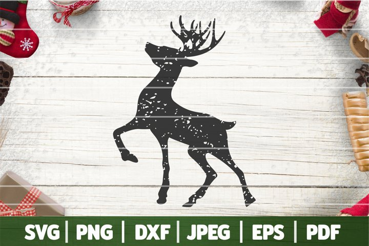 Distressed Rudolph Silhouette SVG, Distressed Reindeer SVG