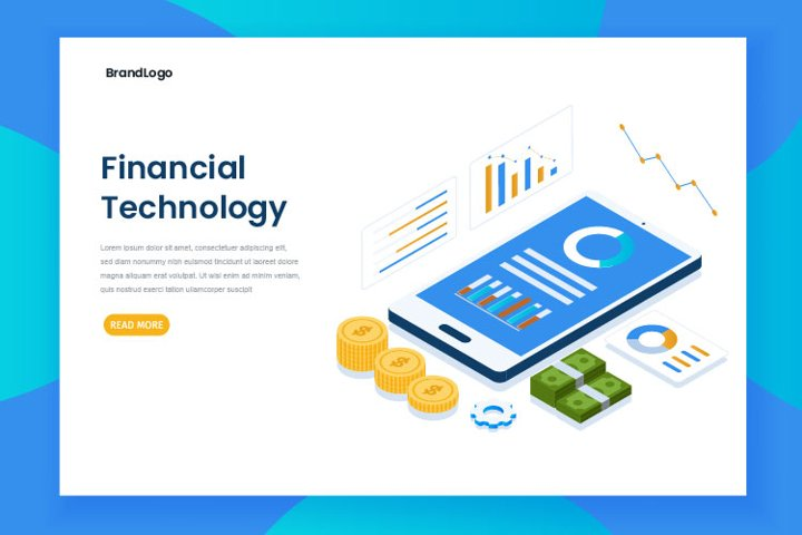Isometric financial technology landing page vector template