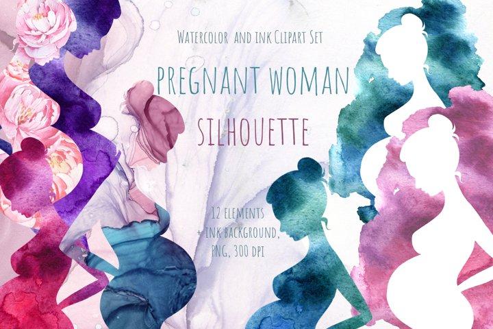 Watercolor Pregnant woman silhouettes