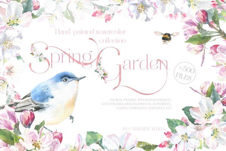 Spring Garden Floral Watercolor