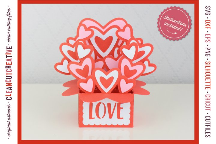 Love Box Card | Valentine Card in a Box with hearts 3D craft