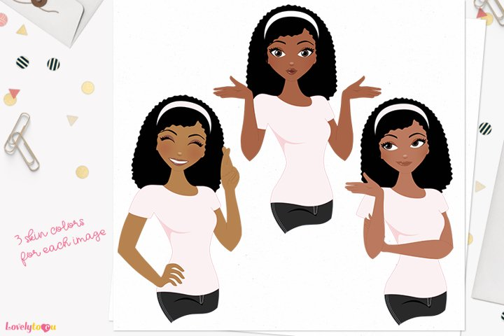 Female expression poses character clipart L448 Nelly