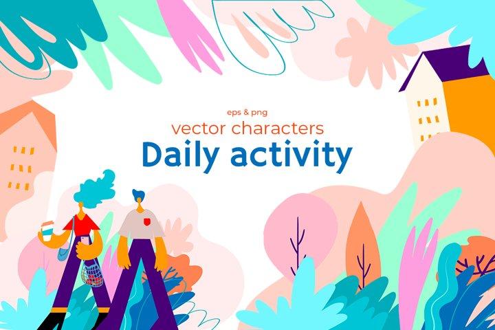 Cartoon characters on daily activity