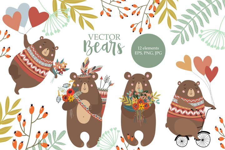 Bear animal collection and leaves