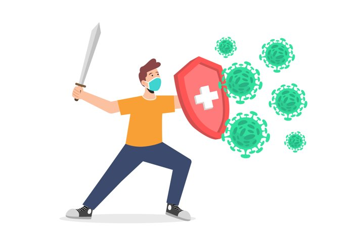 Fight the corona virus concept with mask vector illustration