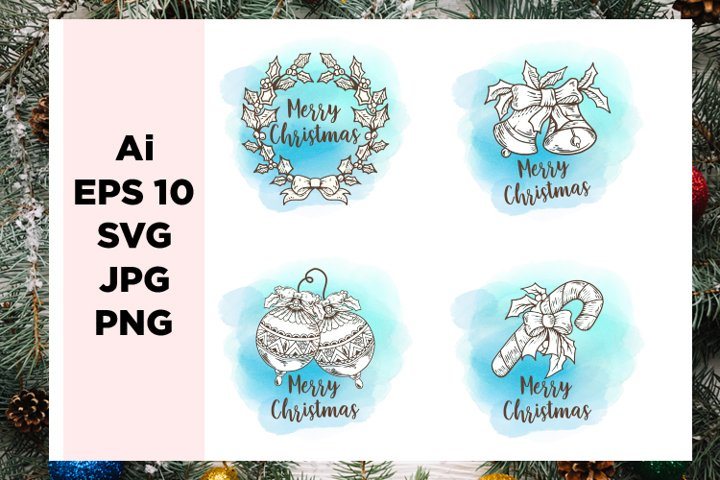 Hand drawn christmas Watercolor badge collection