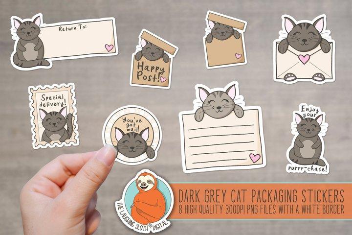 Cute Dark Grey Cat Packaging Stickers