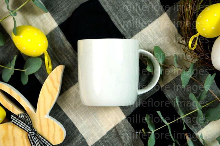 Easter Farmhouse White Coffee Mug Flatlay Mockup JPEG Photo