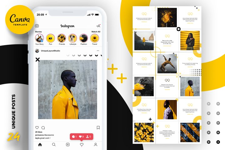 Black and yellow Instagram Puzzle Preset for Canva