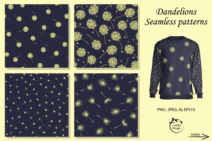 Dandelions. Seamless patterns in dark blue