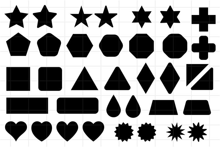 Basic shape elements with sharp and rounded edges, SVG, PNG