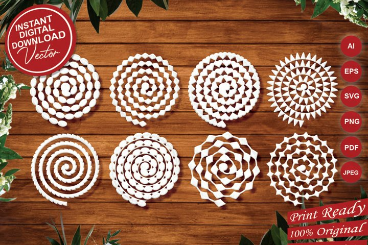 Rolled flowers Laser Cut Designs - SVG Cut Files