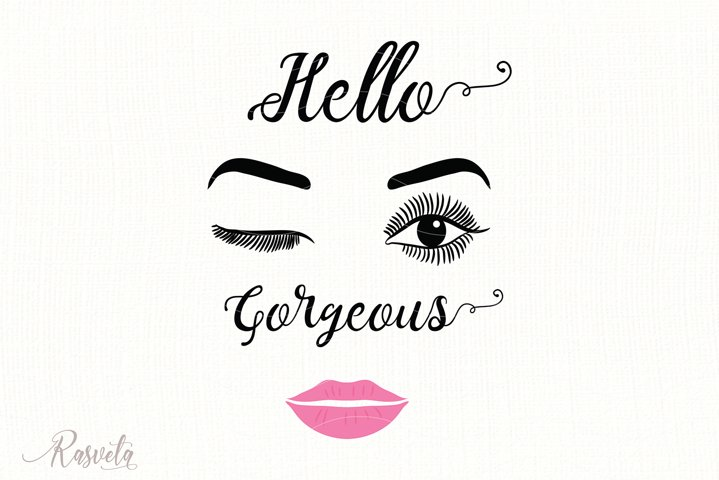 Hello gorgeous, Make up Quote svg/11