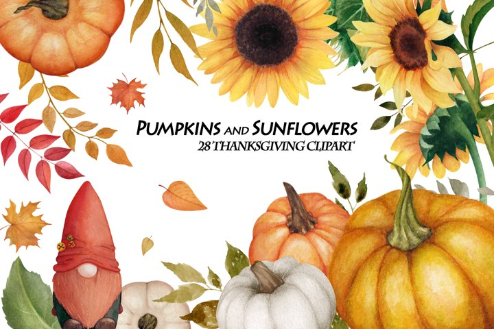 Watercolor Pumpkins and Sunflowers elements