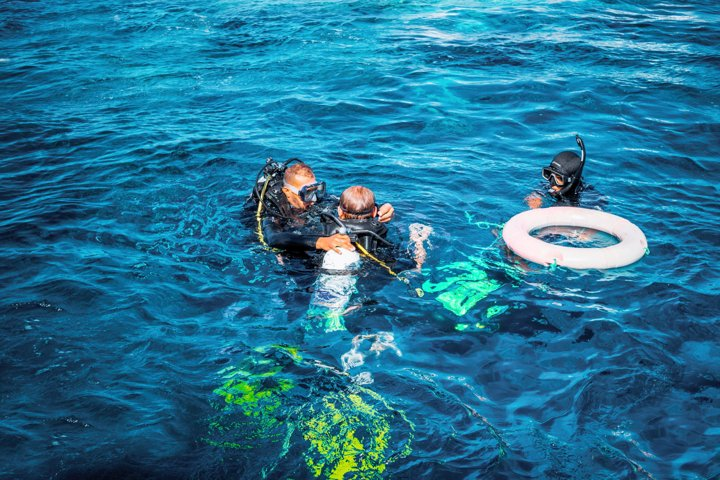 Tourist diving in the Red Sea. Vacations in Egypt