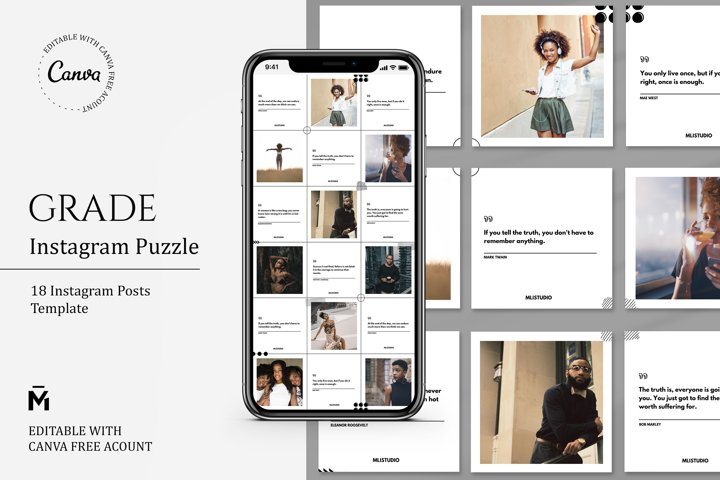 Grade PUZZLE TEMPLATE for Instagram - Editable with Canva