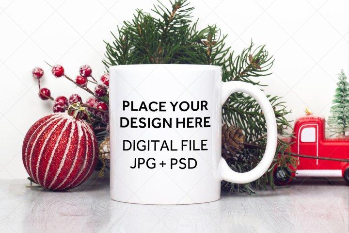 Christmas Mug Mockup with Smart Object, Mug Mock-Up