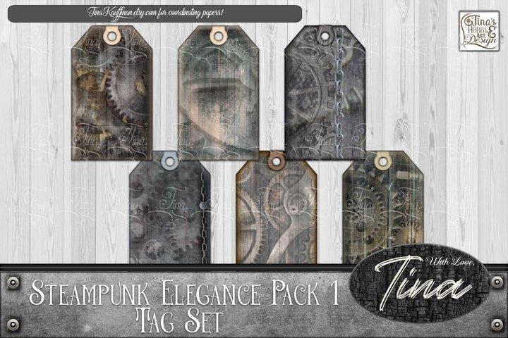 Steampunk Elegance Tags Collage Keys Gears Locks 092918SE1a