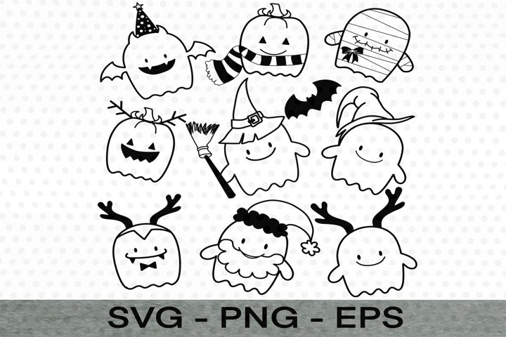 Ghost Halloween,Ghost Christmas,Ghost Witch hat SVG,Ghost