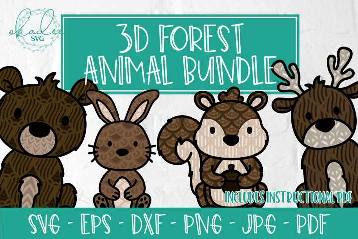 3D Forest Animal Bundle, Layered Mandala Animals, SVG, DXF