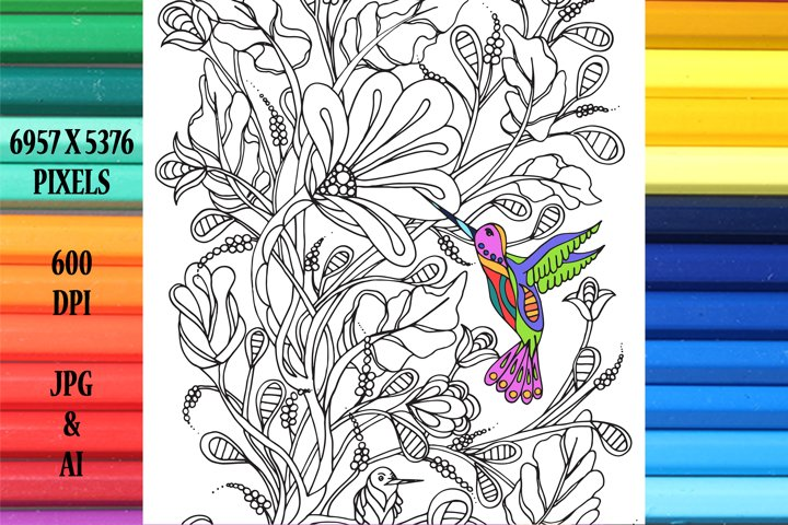 Hummingbird Coloring Book Page/Poster