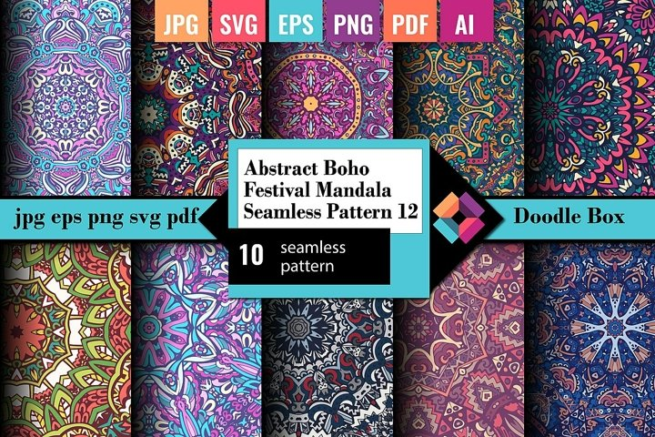 Abstract Boho Festival Mandala Seamless Pattern vol.12