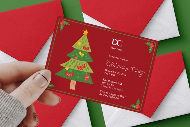 Red Christmas Party Invitation Ms Word Template