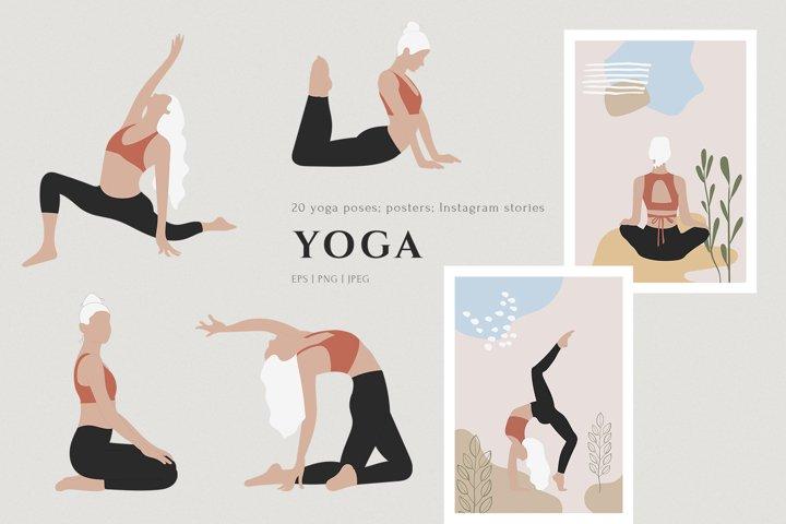 Yoga Girl Clipart, Blonde Fashion Doll Illustration, PNG