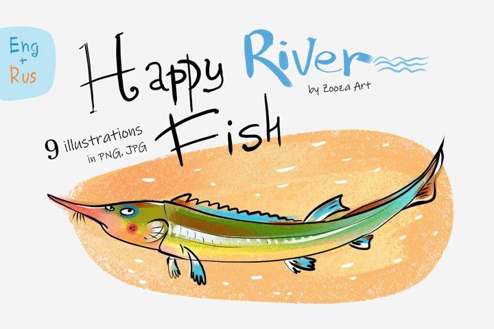 Happy River Fish - 9 illustrations example