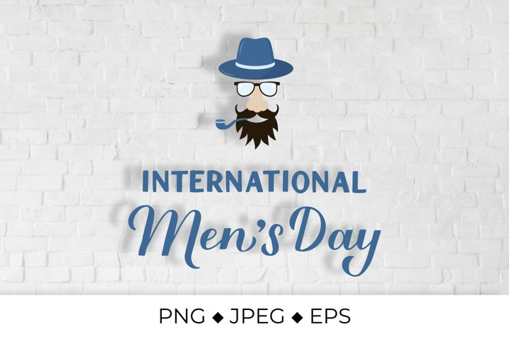 Mens Day lettering with hipster. Greeting card for man