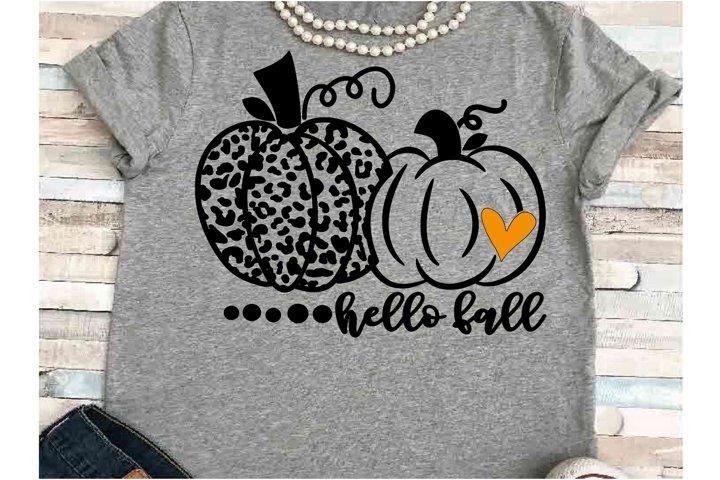 Pumpkin svg JPEG Silhouette Cameo Cricut hello fall leopard