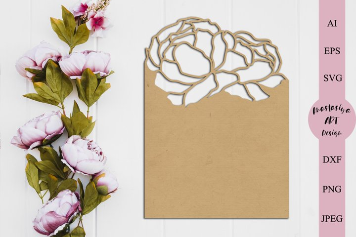 Flower invitation card template, Floral birthday card dxf