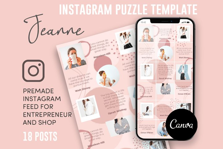 Jeanne, Pink Style Instagram Puzzle Feed, 18 Posts
