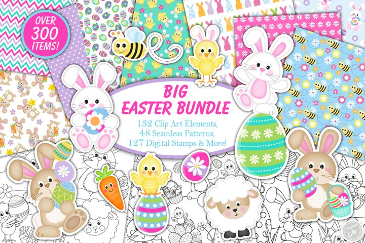 easter bundle, Easter bunny graphics and illustrations